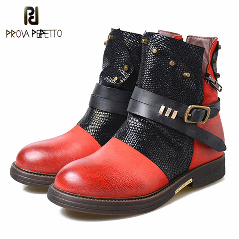 Prova Perfetto 2018 New Rome Gladiator Boots Women Round Toe Mixed Color Real Leather Short Boots Female Rivet Women Flats Shoes prova perfetto 2018 newest genuine leather short boots women rivet belt strap platform flats knigh boots punk style boots female