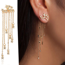 2018 new fashion Retro tassel metal Star long drop Earrings Jewelry for women gift a suit of retro metal leaf tassel necklace and earrings for women
