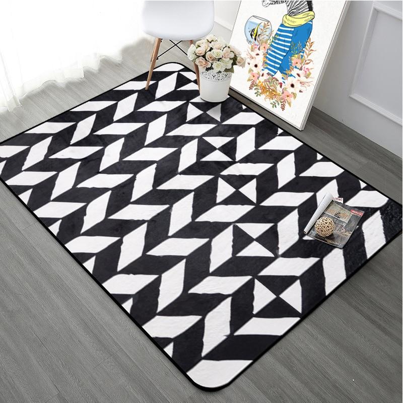 Simplicité moderne noir blanc géométrie tapis salon chambre Decora tapis grande surface tapis salle de bain tapis tapis de sol anti-dérapant
