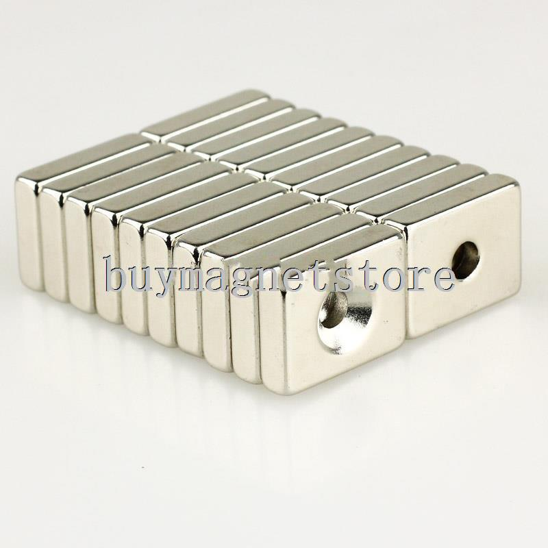 10pcs Strong Block N35 Magnets 20 x 15 * 5mm Counter Sunk Hole 5mm R.E Neodymiumfree shipping magnets