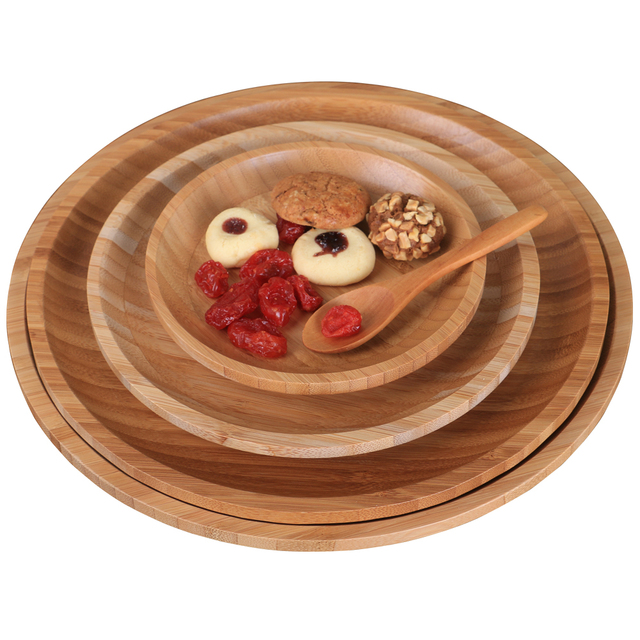 Wooden Flat Dishes tableware Japanese snack foods round Dinner Trays Food container Kitchen utensils Sushi Fruit Plates Party