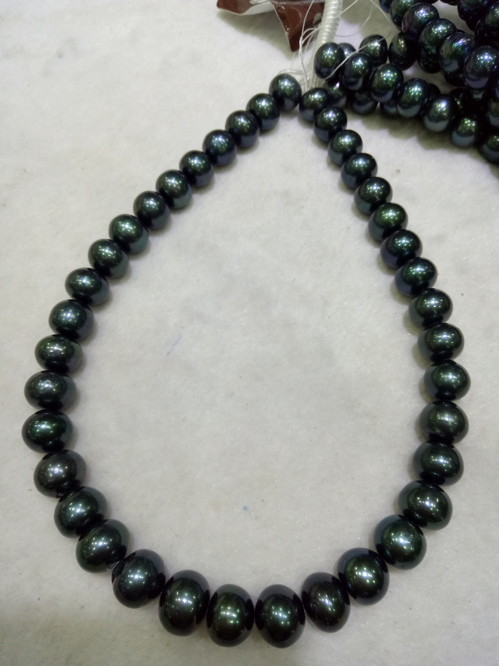 NO PS strands 10-11mm Black fresh water pearl oval luster good pearlNO PS strands 10-11mm Black fresh water pearl oval luster good pearl