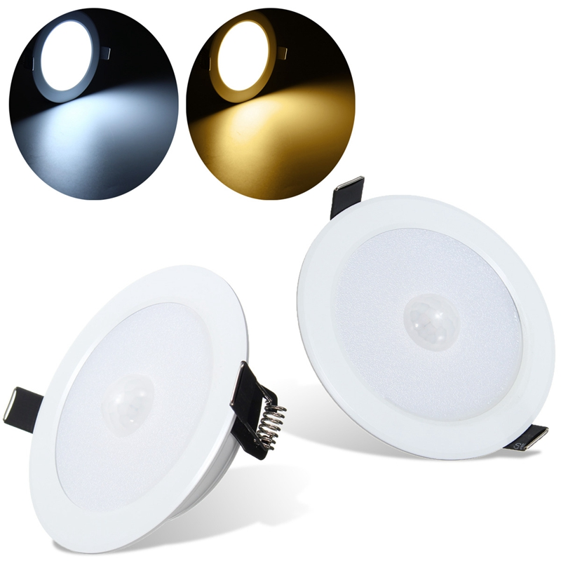 Infrared PIR LED Round Shaped Night Light Body Motion Sensor Ceiling Lamp Warm White Lighting Cabinet Bedroom Hallway 5W sensor light e27 led bulb 5w 25pcs 3528smd infrared pir motion sensor detector led lamp white warm white lighting ac220 240v