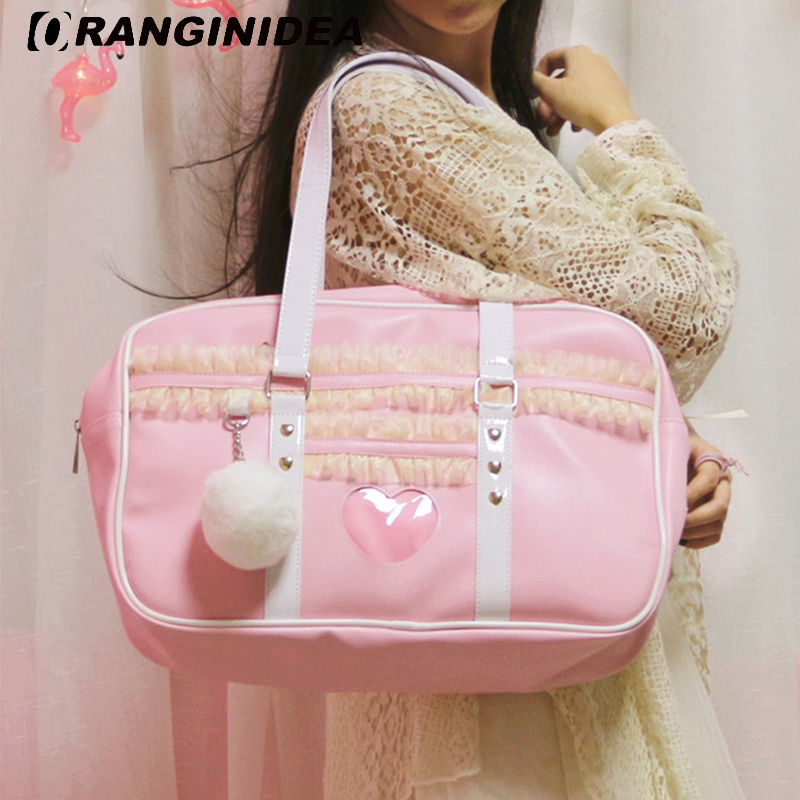 Women Handbags Girl Pink Sweet Travel Tote Bag Pu Lace Patchwork Shoulder Bag with Fluffy Plush Ball Large Capacity Uniform Bag sweet women s tote bag with color block and pu leather design