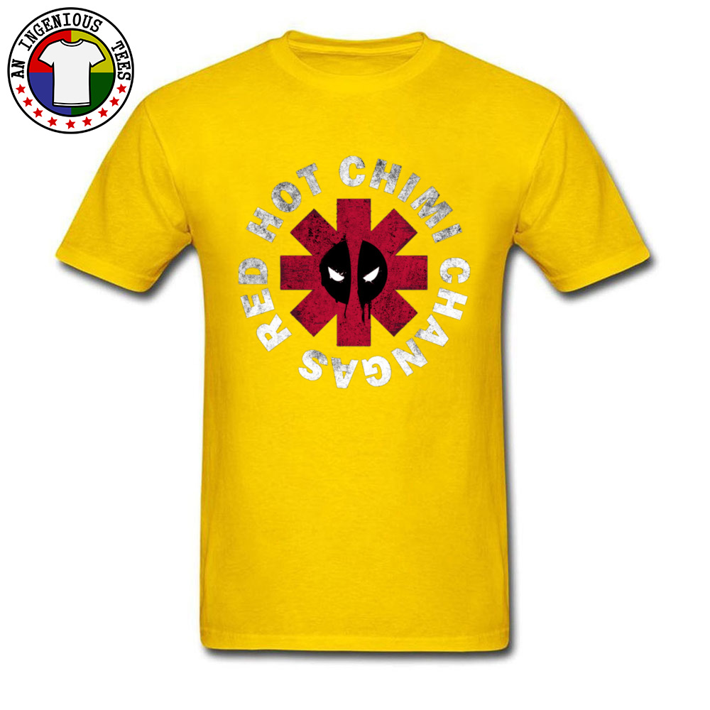 Slim Fit Deadpool Red Hot Chimi 1226 Short Sleeve April FOOL DAY Tops Shirt New Coming O Neck All Cotton Tee-Shirt Male Tshirts Deadpool Red Hot Chimi 1226 yellow