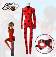 Best Quality In Stock Kid Adult Free Miraculous Ladybug Cosplay Costume With Mask Ladybug Red Suit