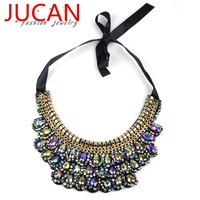 Popular Fashion Necklace Exaggerated Geometric Colorful Jelly Color Crystal Gems Flower Necklace Freeshipping For Women