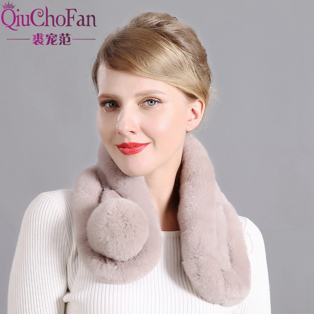 Women's Real Rabbit Fur Winter Warm Scarf Knitted Real Rabbit Fur Scarf Collar Warm Neck Collar Pompoms Scarf Free Shipping