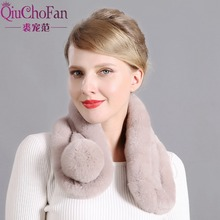 Womens Real Rabbit Fur Winter Warm Scarf Knitted Collar Neck Pompoms free shipping