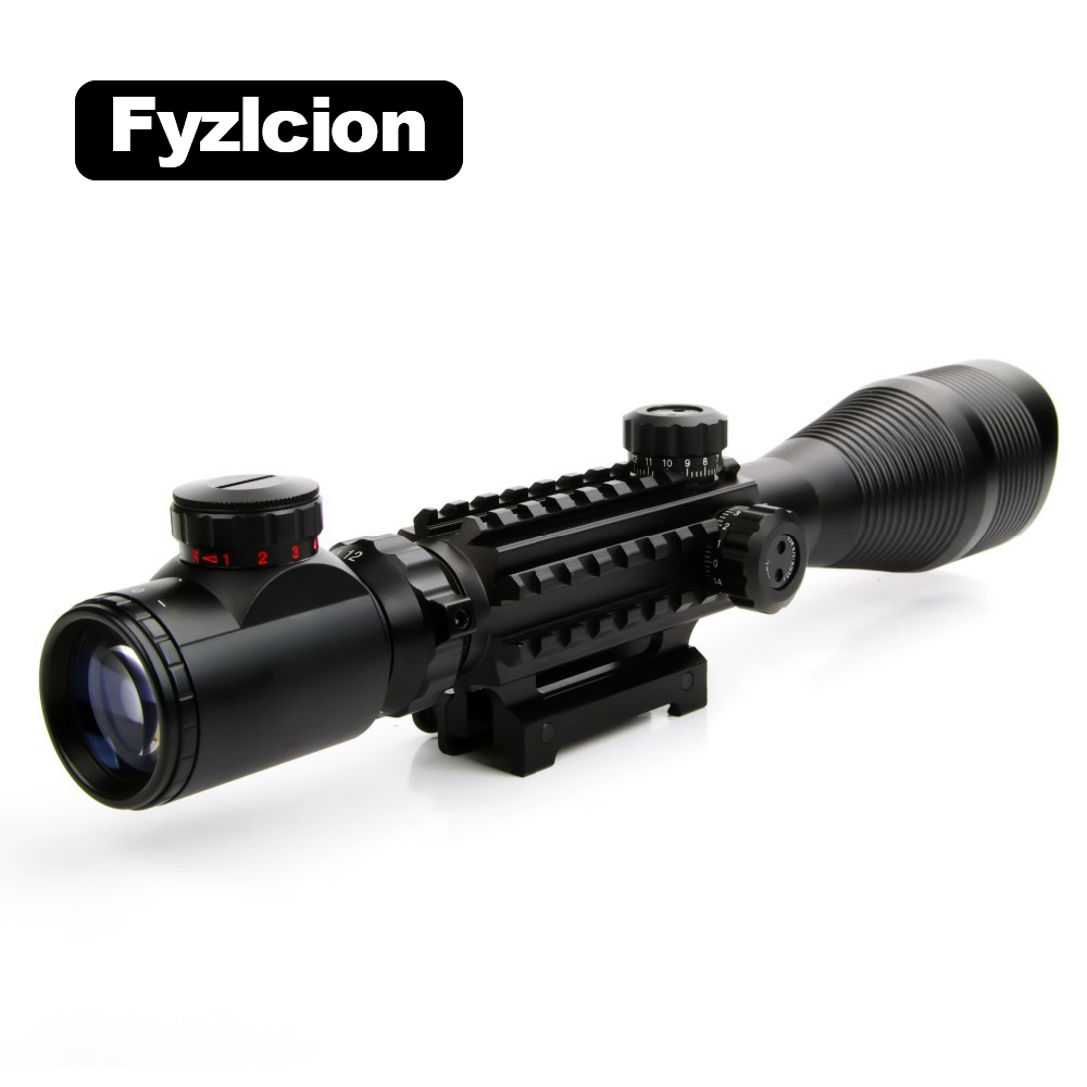 4-12X50 Tactical Optical Rifle Scope Red Green Dual illuminated with Side Rails&Mount Fit F 20mm Rail Hunting Airsoft airsoft c4 12x50 tactical optical rifle scope red green dual illuminated w side rails
