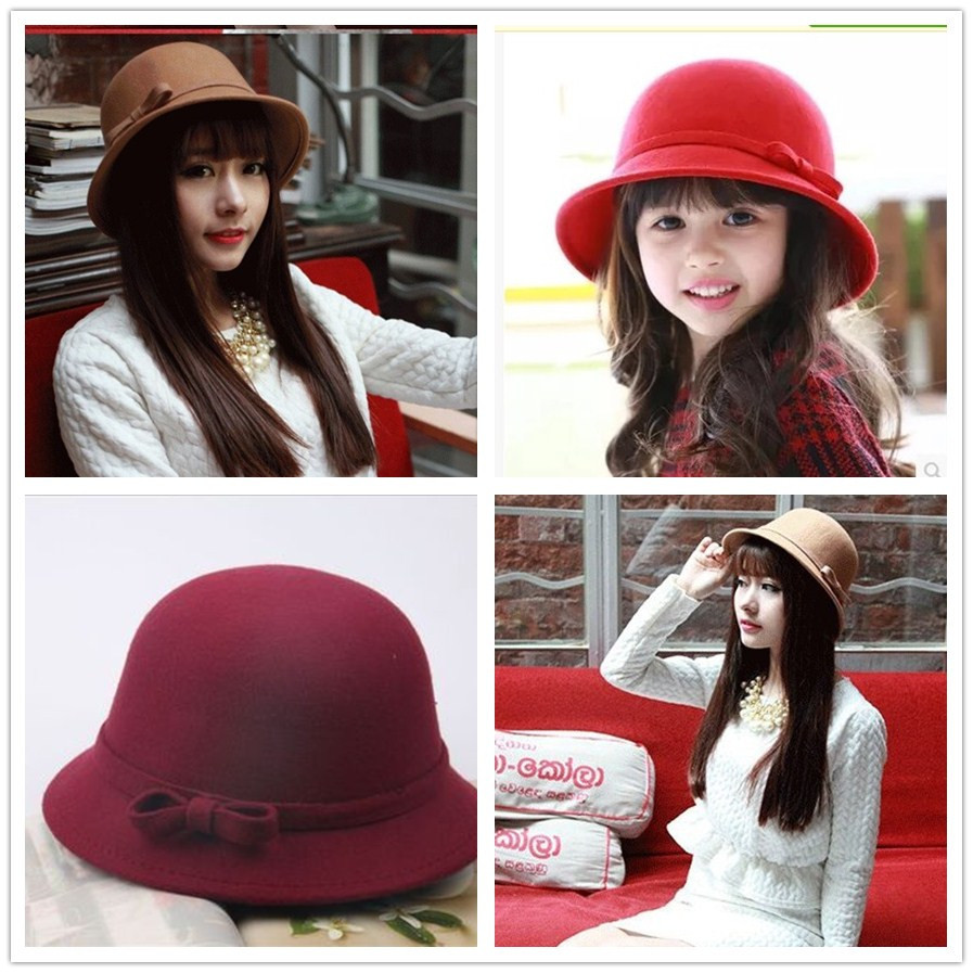 2017 New Girls Autumn And Winter Hat Children's Wool Hat England Retro Curling Dome Hat Princess Basin Cap Parent-Child Hat цена 2017