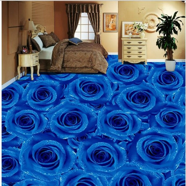 Beibehang Custom Personality Blue Rose Living Room Bedroom D Floor - Repainting floor tiles