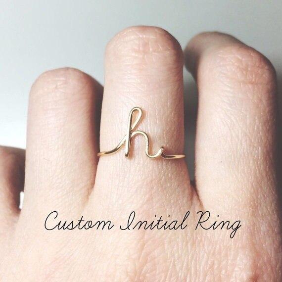 Vnfurn 26 Letter Rings A-Z Full Fashion Unisex Rose Gold For Women Men Name Finger