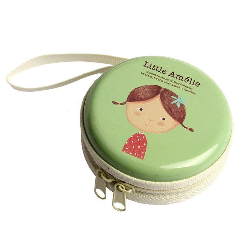 Cartoon Mini Zipper Bag Earphone Headphone Box SD Card Box Bag Carrying Pouch Storage green