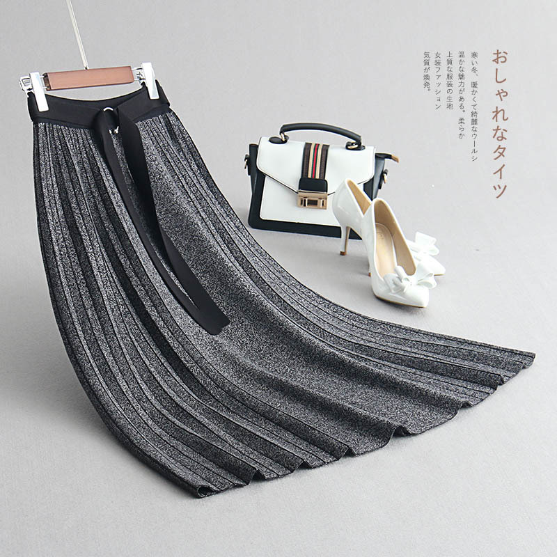 INNASOFAN Women s autumn winter knitted thick warm skirt of high waist Euro American fashionable elegant