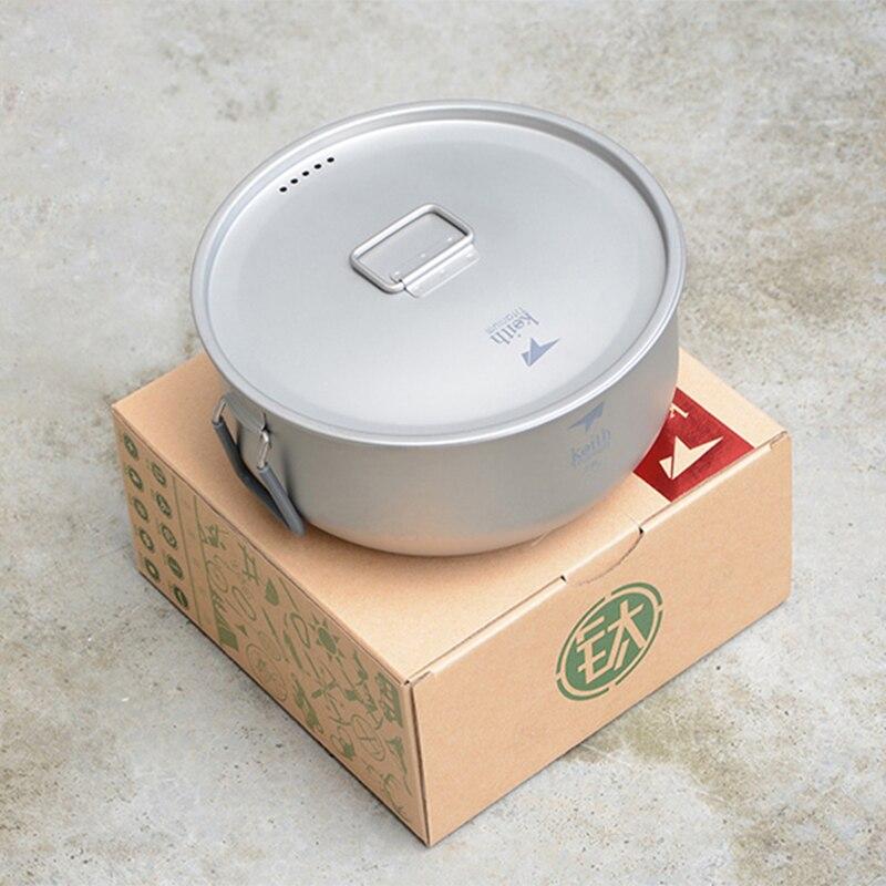 Keith Pot en titane avec poignées pliantes Pot de cuisson antiadhésif ultra-léger Portable extérieur ustensiles de cuisine couverts 1.8L Ti6015