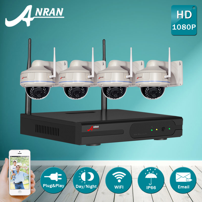 4CH NVR Wireless CCTV System&1080P 2.0Megapixel HD Outdoor Vandalproof Dome WIFI IP Camera IR Security Surveillance Kit+2TB HDD