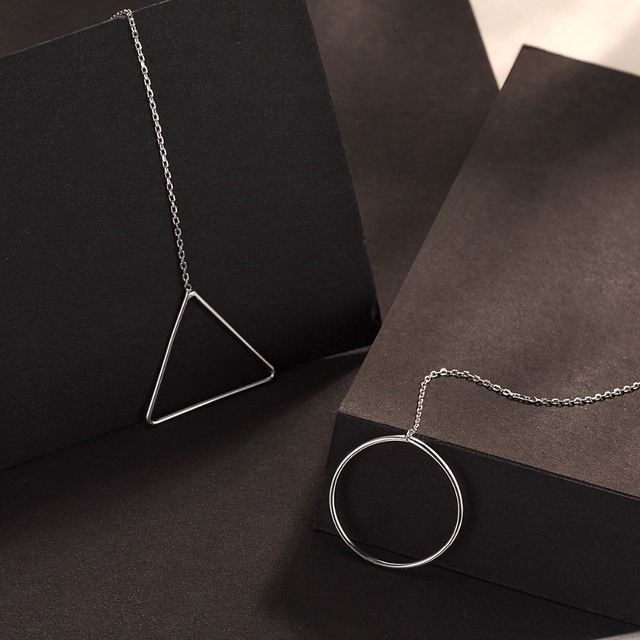 Earring Drop Round Triangle Rings Simple Ears Suitable For Girls Women Best Jewelry Genuine 925 Sterling Silver Chain Ears