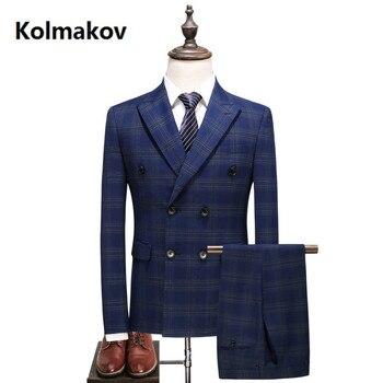 (Jacket+Vest+Pants) Mens Double Breasted Suit Slim Fit Embroider Suit Men Luxury men's stripe Wedding Suits Formal Wear dress