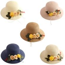New Sun Hats For Women Girls Wide Brim Floppy Straw Hat Summer Travel Beach Cap 2019 New All-match Flower Decor Sun Hat all sun