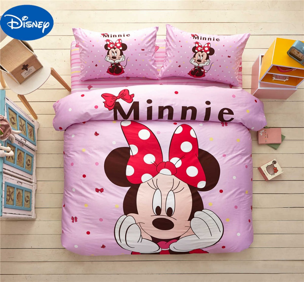 Pink Mickey Minnie Mouse Flannel bed sheet set 4pcs queen full ...