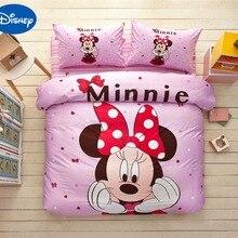 Одеяло с Минни Маус, Комплект постельного белья, хлопковое постельное белье с героями мультфильмов, Дисней, покрывало для кровати, для девочек, декор для спальни, для близнецов, полный размер, розовый цвет