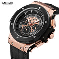Megir Mens Chronograph Luminous Leather Strap Quartz Wristwatches Fashion Waterproof Military Sport Watch for Man 2035 Black