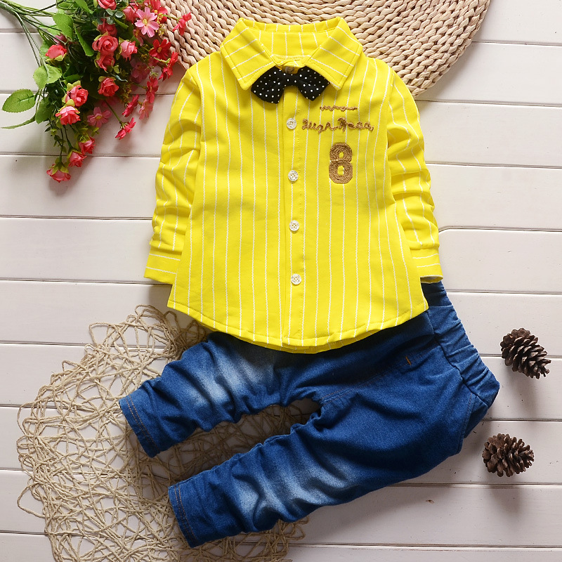 Baby Boys Clothes 2017 Spring Fall Full Sleeved Striped Shirts + Jeans 2PCS Suits Childrens Tracksuits Kids Bebes Jogging Suits