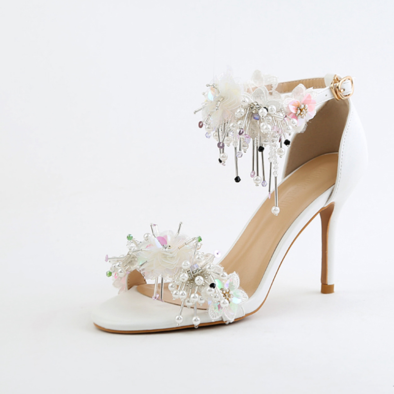 Beautiful Rhinestones Women Wedding Shoes 9cm Heel Sexy White Lace Satin Bridal Shoes Women Sandals Bling Summer style Shoes lf40203 sexy white pink blue strappy heart heel wedge wedding sandals sz 4 5 6 7 8 9 10