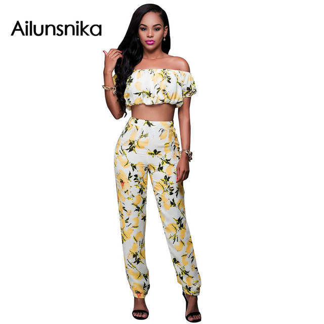 Ailunsnika 2017 Summer Women Sexy Fashion Slash Neck Print Long Rompers Short Sleeve Crop Top Pants 2 Piece Sets MN8006