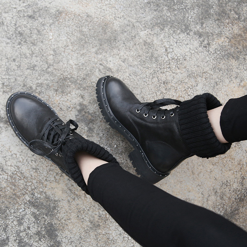 MYCOLEN 2018 New Women Boots Handmade Lace Up  Boots Winter Fur Women Ankle Boots Brand Motorcycle boots Women ShoesMYCOLEN 2018 New Women Boots Handmade Lace Up  Boots Winter Fur Women Ankle Boots Brand Motorcycle boots Women Shoes