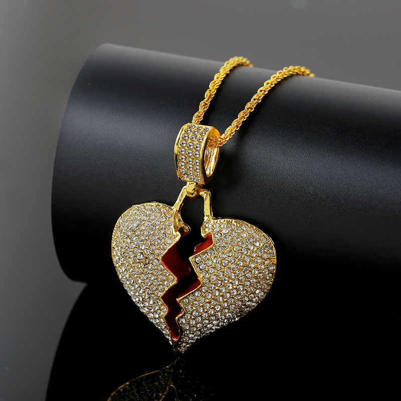Fashion Broken Heart Pendant Necklaces Women Men Hip Hop Jewelry Gold Silver Iced Out Chain Rhinestone Statement Necklace Gifts
