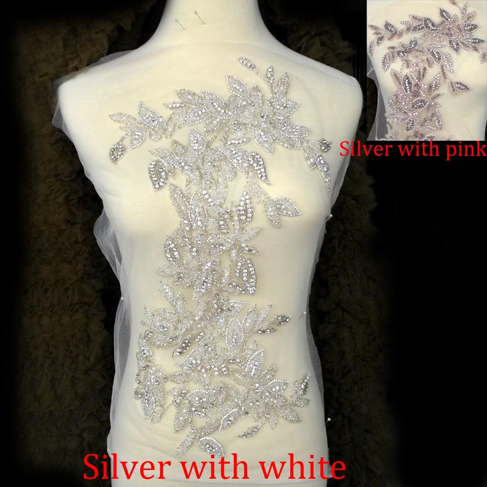 La Belleza Super բարձրակարգ իմիտացիոն մեծ Rhinestone patch ձեռագործ պատրաստված ասեղնագործություն հարսանյաց զգեստի պարագաներ 47X26 սմ