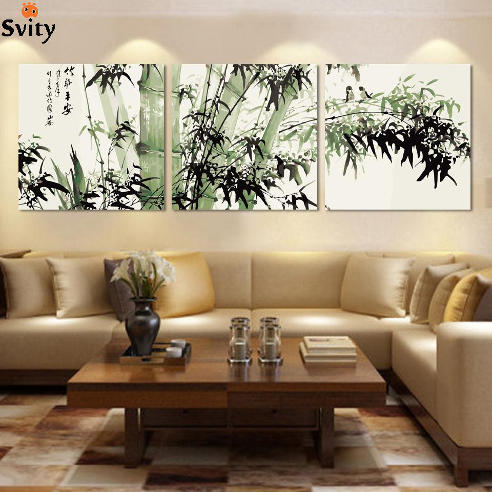 Fashion large canvas art cheap modern abstract bamboo canvas wall art landscape oil painting pictures for living room NoFrame
