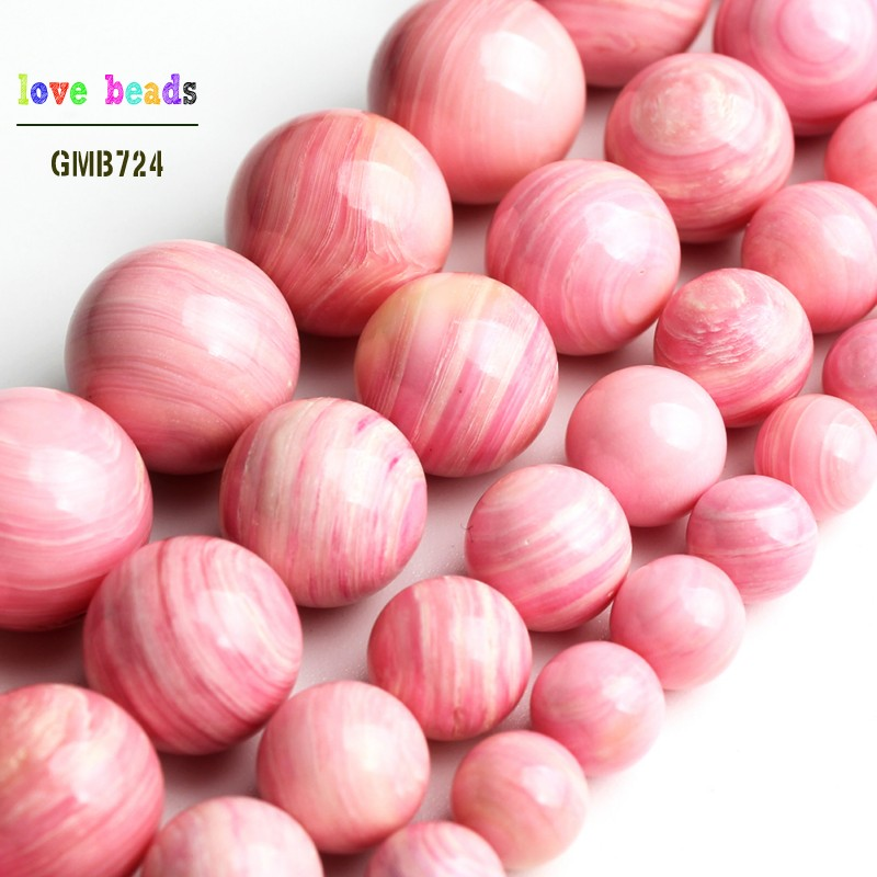Loose-Beads Shell Jewelry-Making Pink Natural Bracelet Round Plum for DIY 15''-Strand
