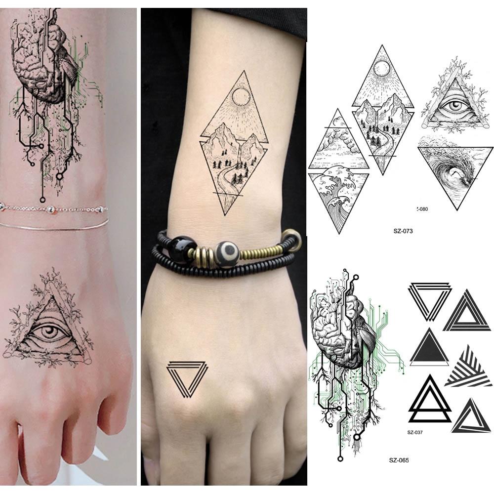 Rejaski Men Arm Heart Totem Tattoo Stickers Women Geometric Peak Mountain Temporary Tattoo Triangle Eye Xmas Gifts Fake Tatoos