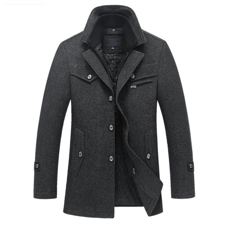 Mens Section Outwear Jacket Winter Warm Coat Overcoat Military Coat Thin Casual