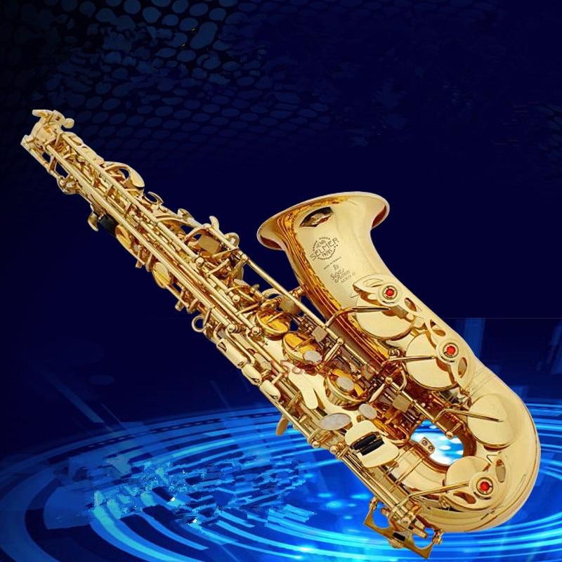 Saxofon Alto-instrument Högkvalitativ Frankrike SAS-802 nya gyllene saxofoninstrument Verkligt bild hur gåvan skickas Sax