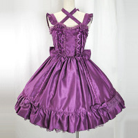 Customized 2018 Summer Purple Square Collar Sleeveless Victorian Lolita Dresses Halloween Lace Bow Women's Clothing