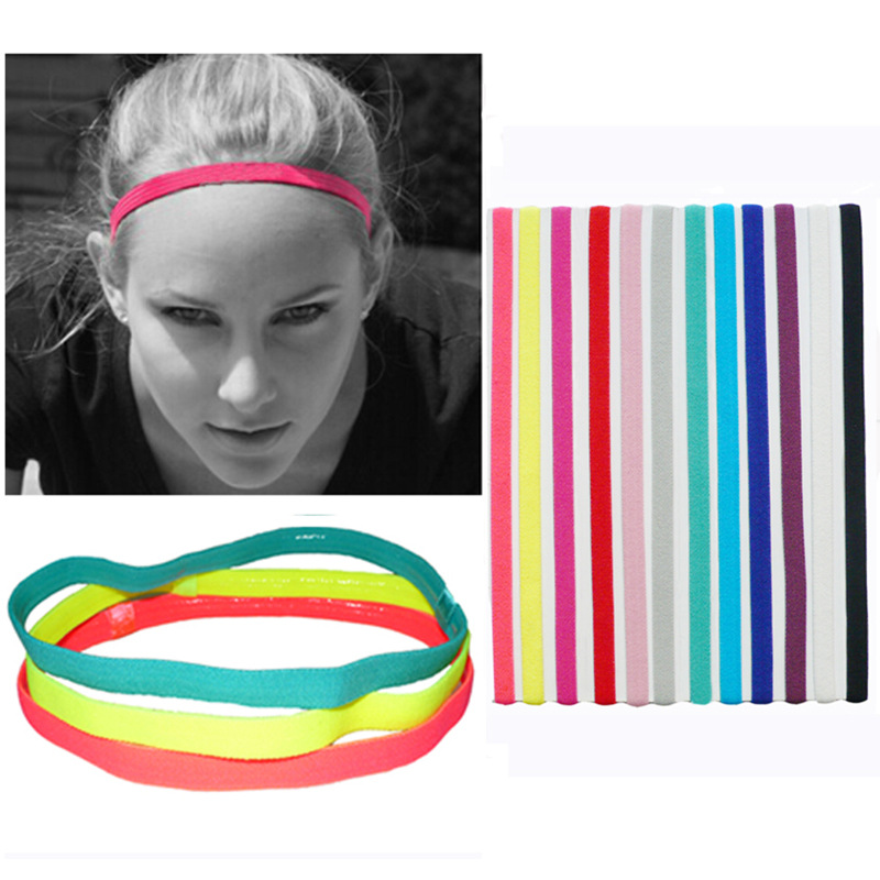 Women Sweatbands Football Yoga Pure Hair Bands Anti-slip Elastic Rubber Thin Sports Headband Men Hair Accessories SA-8