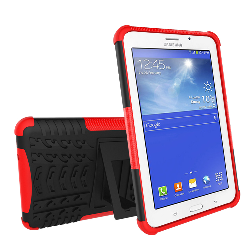 Shockproof Heavy Duty Combo Hybrid Rugged Dual Layer Cover with Kickstand Case For Samsung Galaxy Tab 3 7.0 Lite / Tab E Lite 7 tire style tough rugged dual layer hybrid hard kickstand duty armor case for samsung galaxy tab a 10 1 2016 t580 tablet cover
