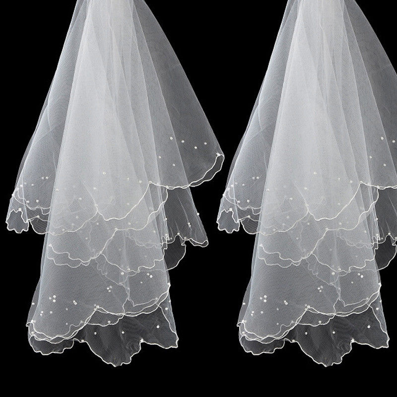 Ivory White 2t Wedding Veil with Comb Elbow length FANCY DRESS HEN NIGHT PARTY