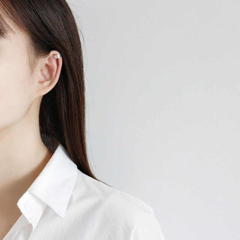 BITWBI 1 sztuk unikalne 100% 925 srebrne klipsy moda proste Ear Cuff kolczyk klip bez Piercing dla damska biżuteria na prezent