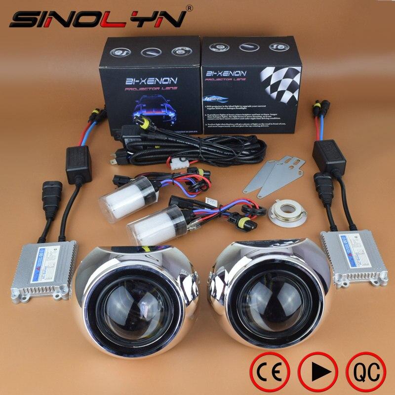 SINOLYN 2.5 pouce HID Bixenon Projecteur Lentille Projecteur Lentilles Kit Iris Haubans H1 H4 H7 Pour Phare De Voiture Rénovation Automobiles