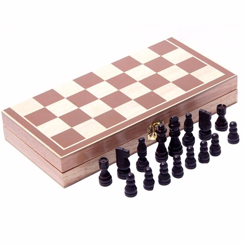 Vintage Wood Pieces Chess Set Folding Board Box