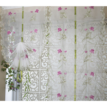 Fresh garden style tulle curtain,Exquisite embroidery Pattern Lotus flowers , Window Curtains for Bedroom Living Room Decorative