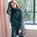 Винтаж трикотаж свитер женщин сплошной цвет основывая свитера большой размер свободные сгущает трикотажные платья осень-зима теплая и пиджаки 198