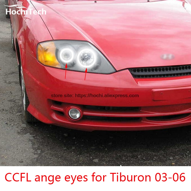 HochiTech WHITE 6000K CCFL Headlight Halo Angel Demon Eyes Kit angel eyes light for Hyundai Tiburon 2003 2004 2005 2006 hochitech excellent ccfl angel eyes kit ultra bright headlight illumination for hyundai tiburon 2003 2004 2005 2006