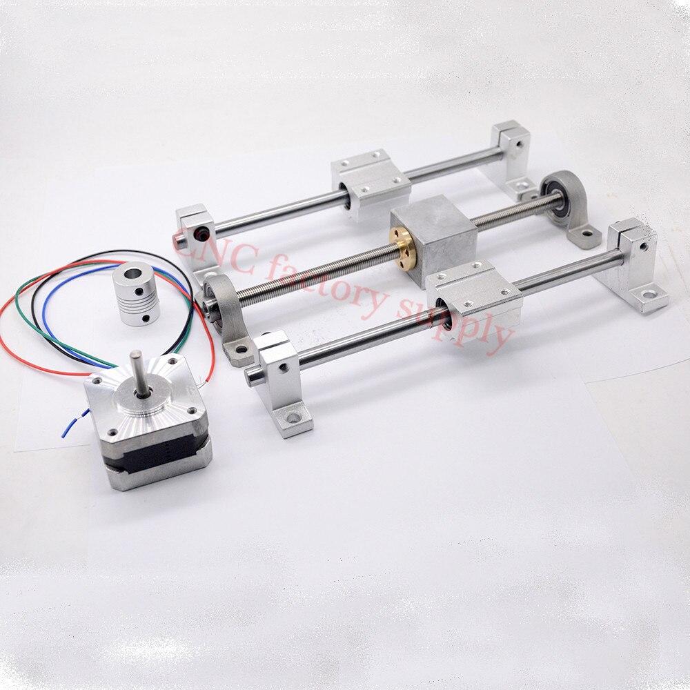 Le rail de guidage d'imprimante 3D place la longueur de vis de plomb T8 100mm + axe linéaire 8*100mm + KP08 SK8 SC8UU + logement d'écrou + accouplement + moteur pas à pas