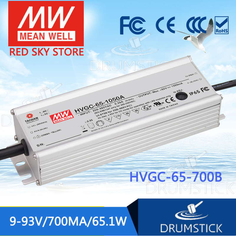 MEAN WELL HVGC-65-700B 9 ~ 93V 700mA meanwell HVGC-65 65.1W Single Output LED Driver Power Supply B Type mean well hvgc 150 350a 42 428v 350ma meanwell hvgc 150 149 8w singleoutput led driver power supply a type
